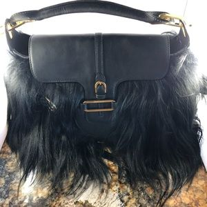 Jimmy Choo Tulita Black Fur & Leather Satchel